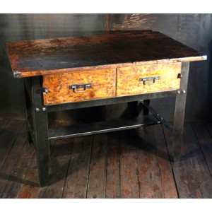 Ancien mobilier industriel mobiliers brocante meuble - Table atelier industriel ...