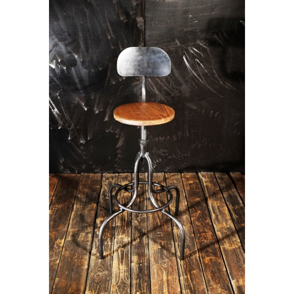 tabouret bar industriel chaises haute atelier acier. Black Bedroom Furniture Sets. Home Design Ideas